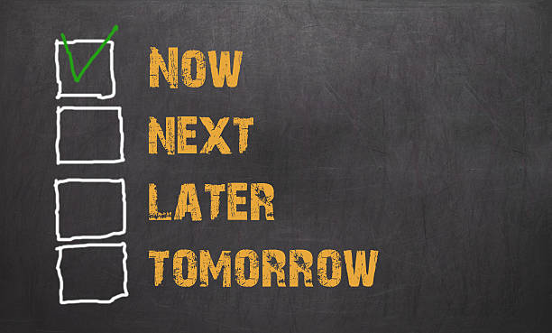 Do it now - business concept on blackboard stock photo
