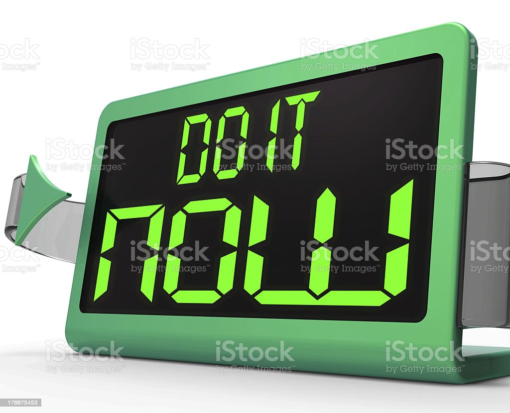 Do It  Now Clock Shows Urgency For Action royalty-free stock photo