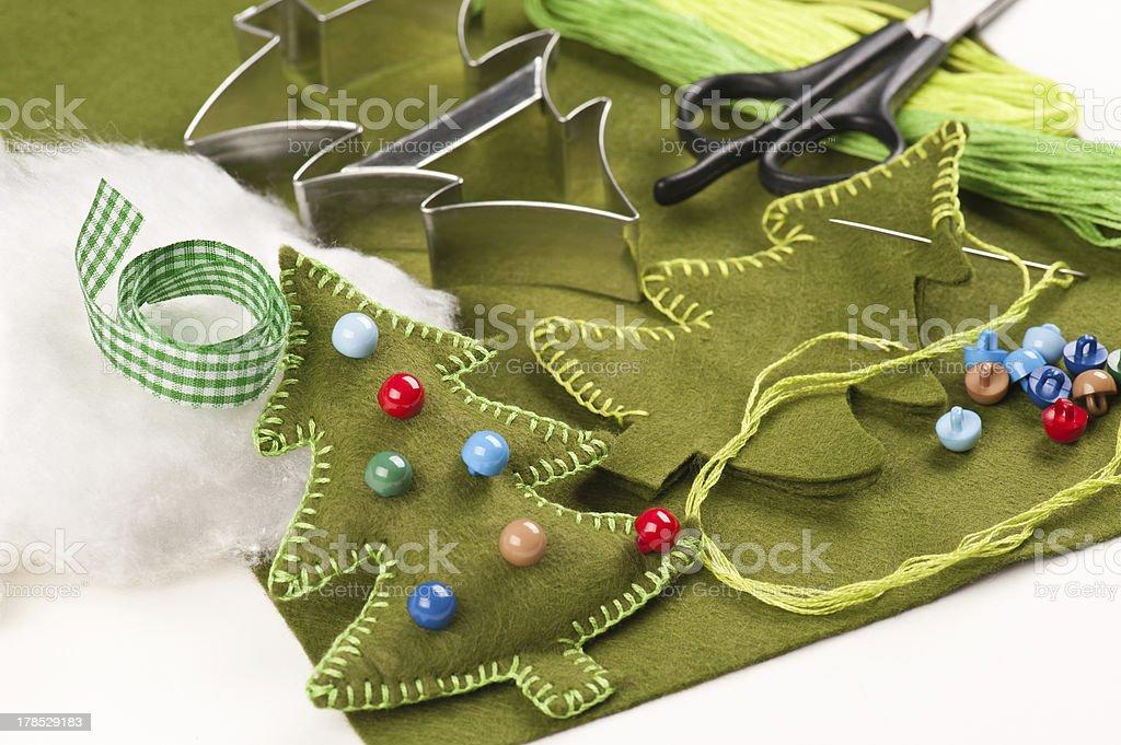Do it yourself felt Christmas tree royalty-free stock photo