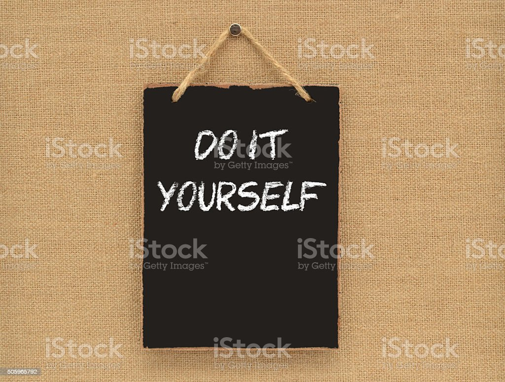Do It Yourself Sign Canvass Board stock photo