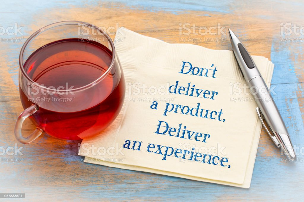Do not deliver a product, but experience stock photo