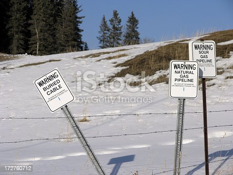 A cluster of warning signs make it clear that digging is dangerous.