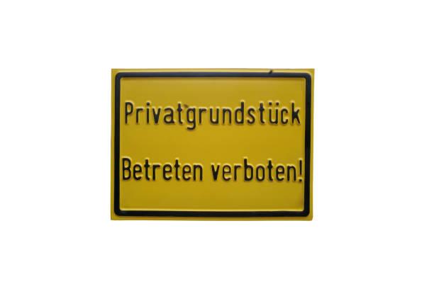 Nicht betreten, Privateigentum, Informationszeichen auf weißem Hintergrund – Foto