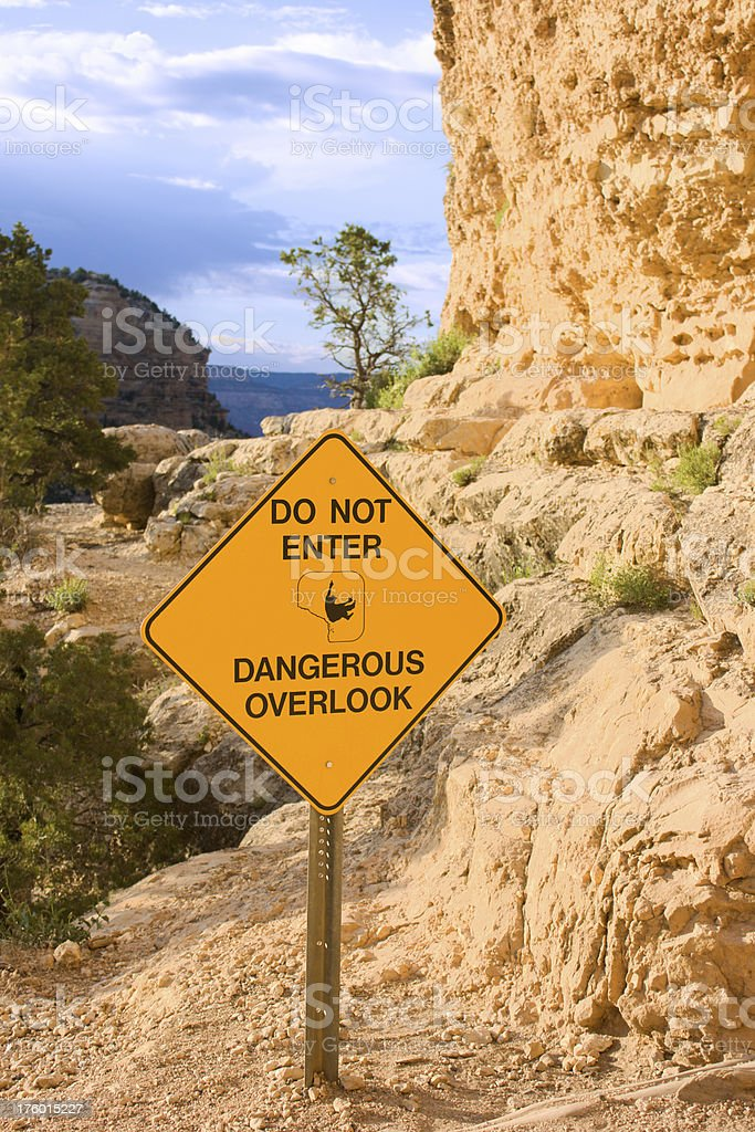 Do Not Enter Sign at Dangerous Overlook stock photo