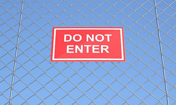 Eintritt verboten auf einem Wire Mesh – Foto