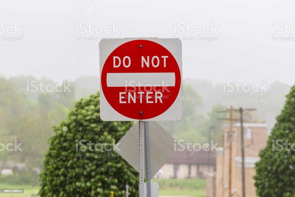 do not enter this foggy spring morning 免版稅 stock photo