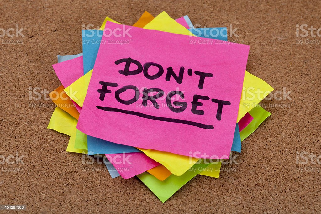 do not forget reminder stock photo