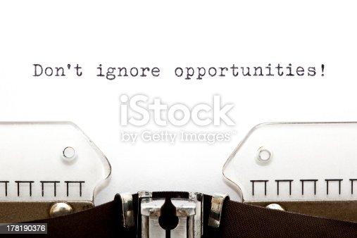 istock Do Not Ignore Opportunities Typewriter 178190376