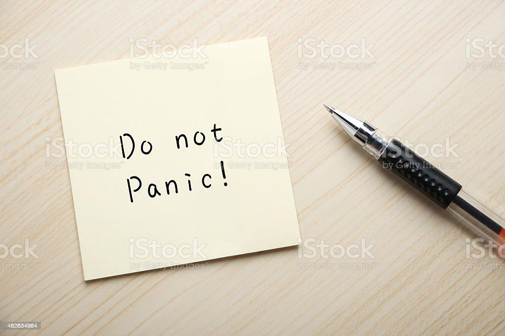 Do not panic stock photo