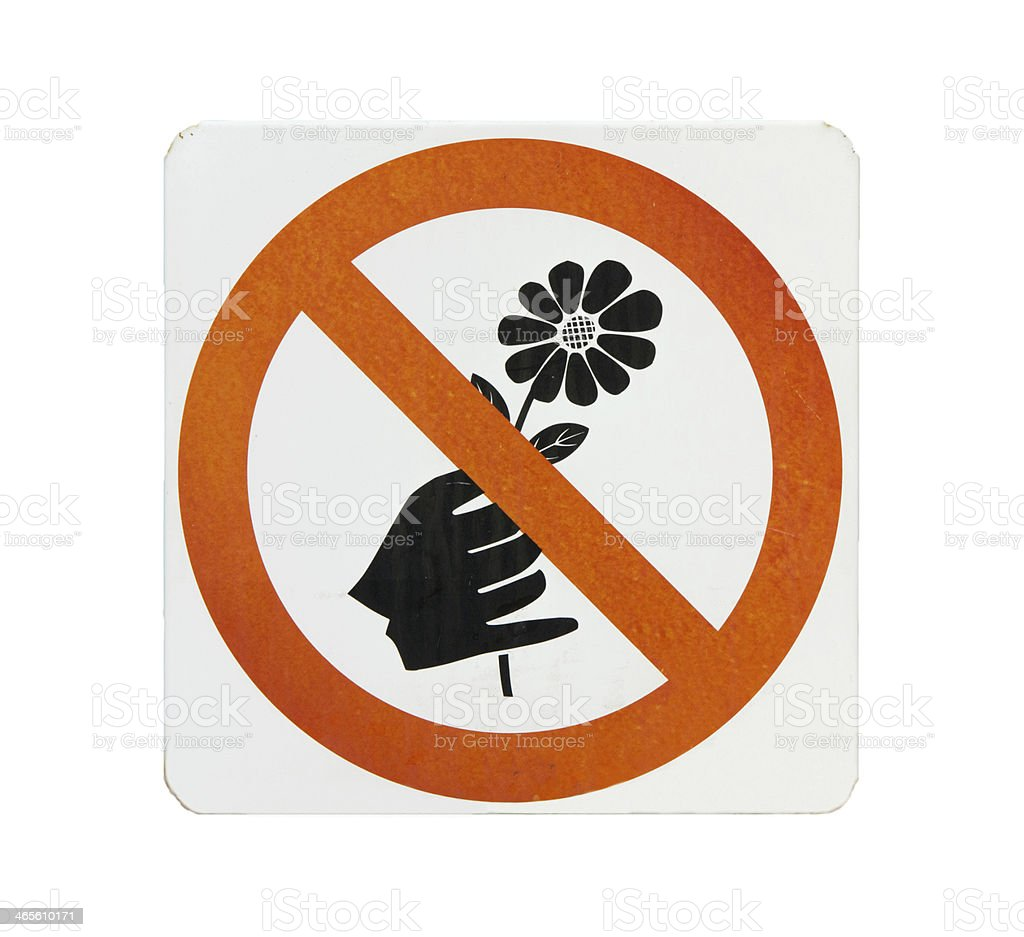 Do not pick flower sign,orange cycle color royalty-free stock photo