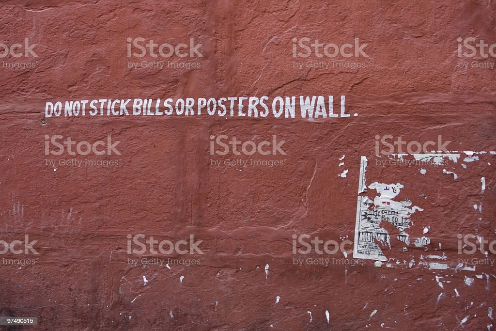 Do not stck bills or posters on the wall royalty-free stock photo