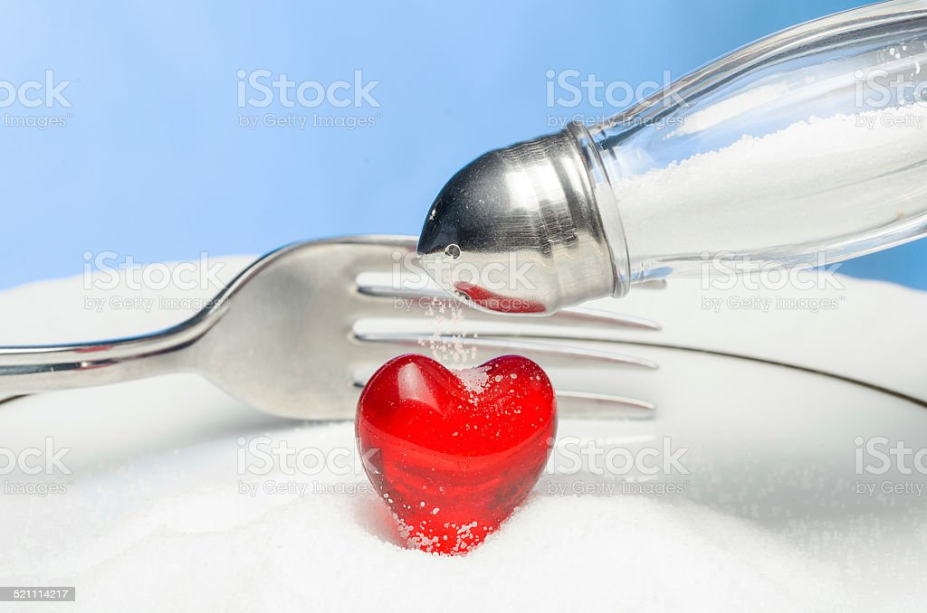 Do not throw salt in your heart! stock photo