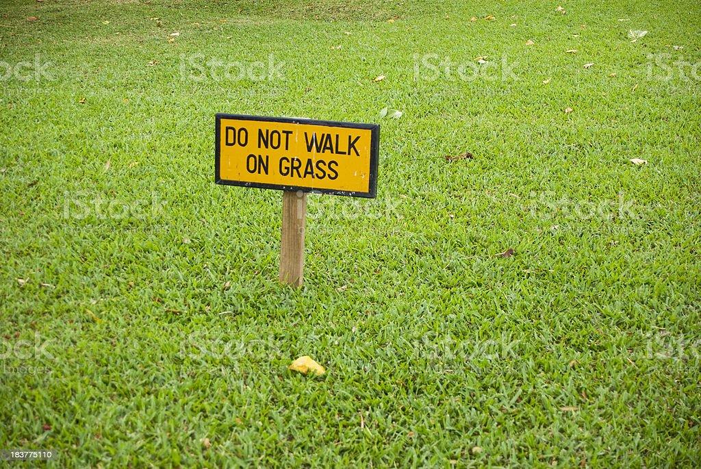 do not walk on grass sign stock photo