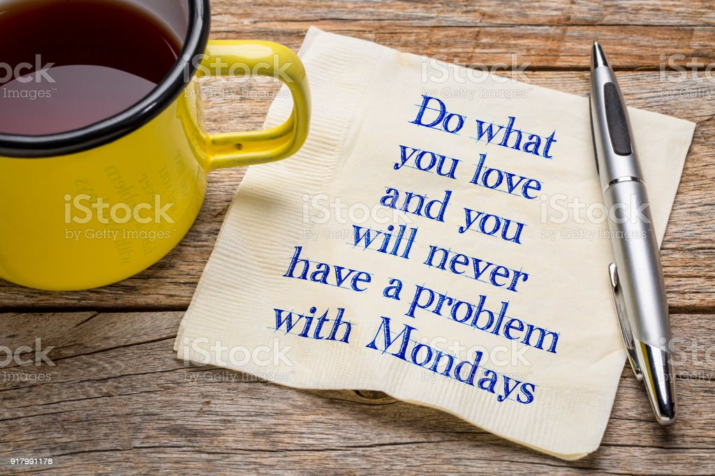 Do what you love and ... napkin note royalty-free stock photo
