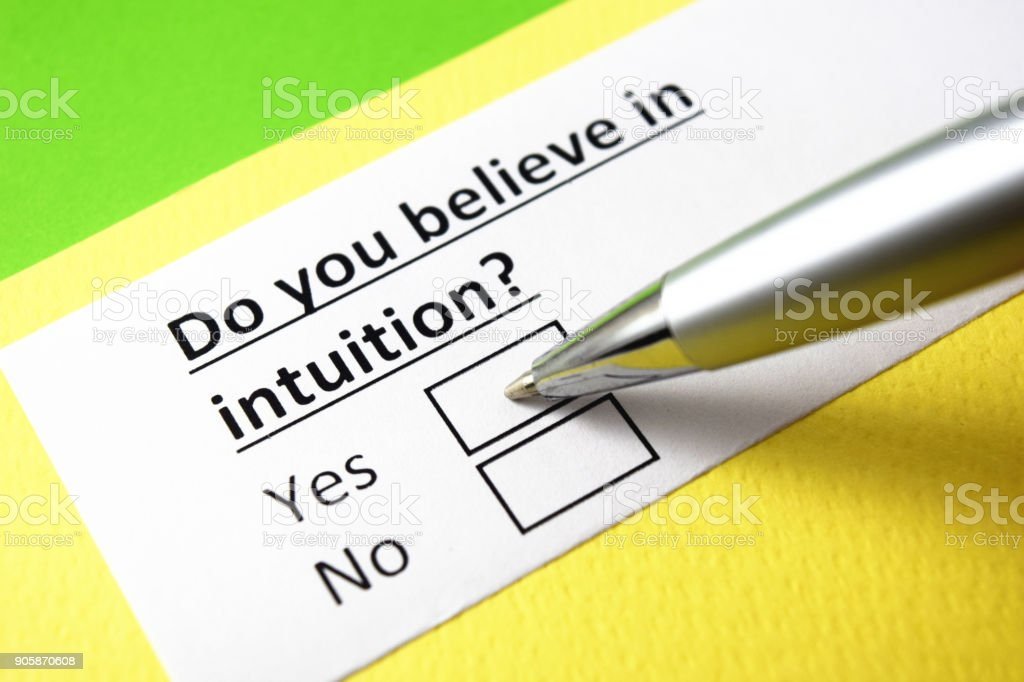 Do you believe in intuition? yes or no? stock photo