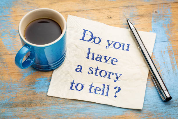 Do you have a story to tell? Do you have a story to tell? Handwriting on a napkin with a cup of espresso coffee storytelling stock pictures, royalty-free photos & images