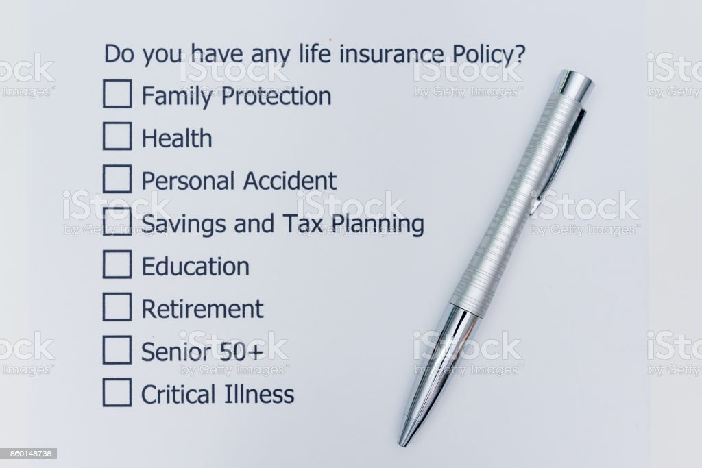 Do you have any life insurance policy? It's A question to answer for the future of your own. stock photo