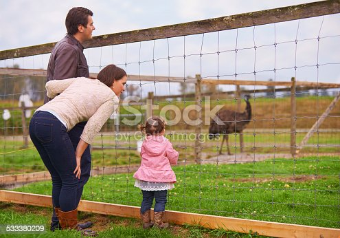 Shot of a young family spending time on a farm