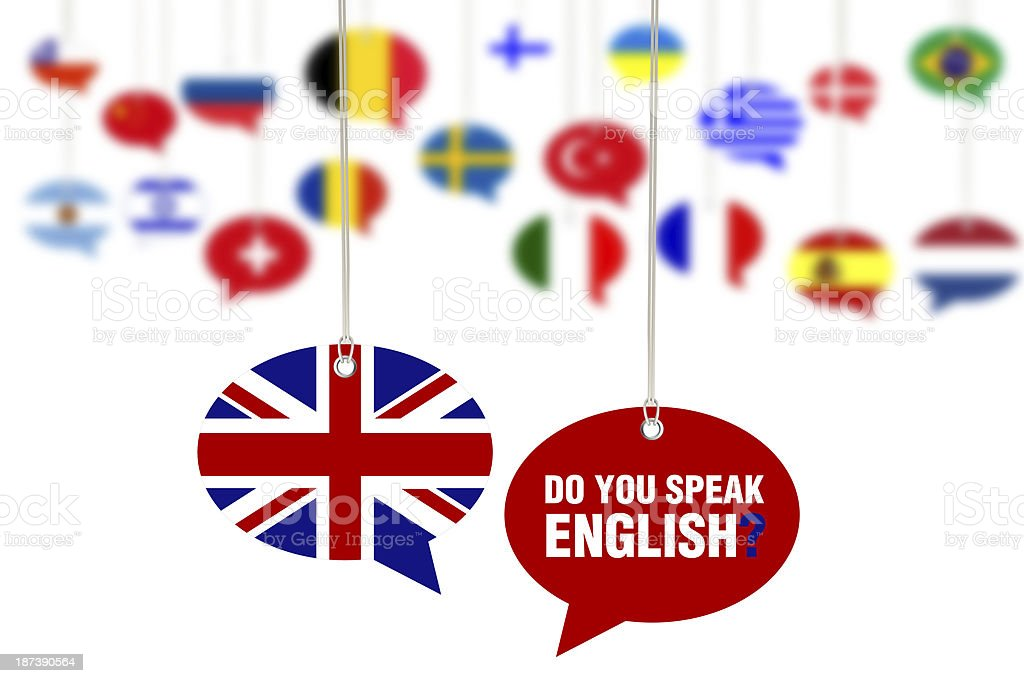Do You Speak English? Concept on Speech Bubbles stock photo