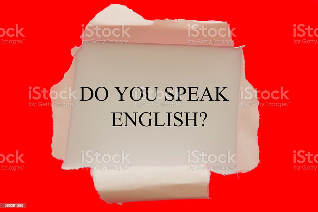 do you speak English question under torn paper royalty-free stock photo