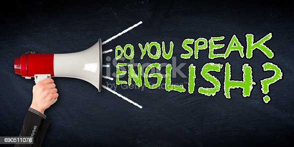 istock do you speak english? wide megaphone blackboard education background 690511076