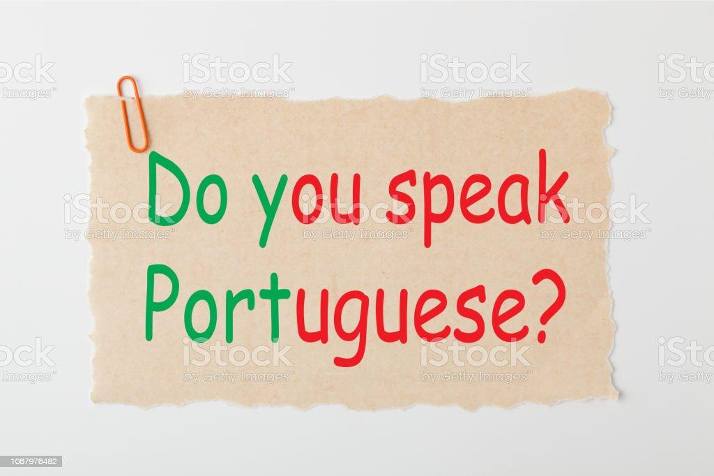 Do you speak Portuguese stock photo