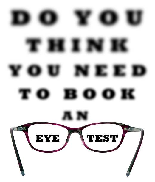 glauben sie, dass sie zum buchen einer auge test - illustration optician stock-fotos und bilder