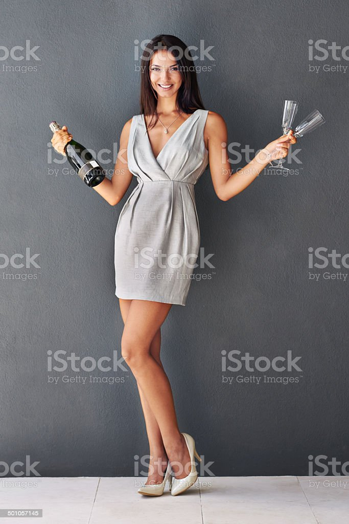 Do you want to help me finish this champagne? stock photo