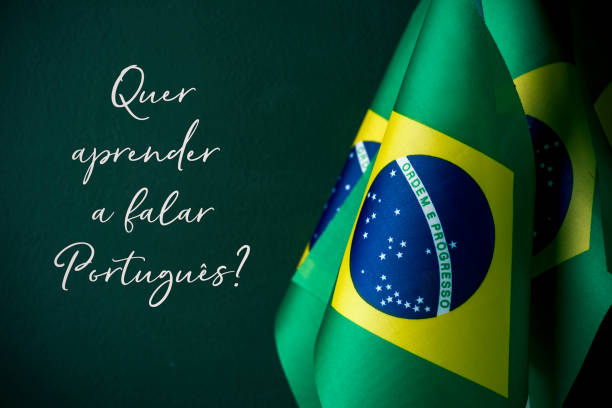 do you want to learn portuguese, in portuguese stock photo