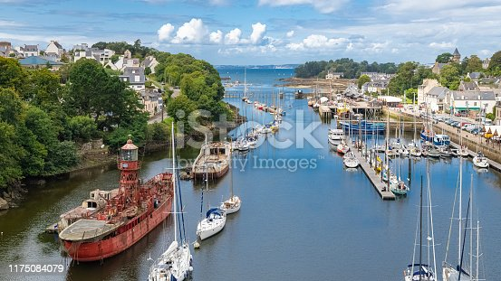 Doarnenez, the port Rhu in Brittany, beautiful aerial view of the harbor, with modern and old ships