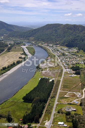 Aerial of Dobson township (right foreground) and Taylorville (on the other side of the Grey River), West Coast, South Island