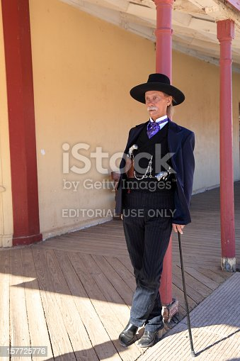Tombstone, Arizona, Usa- February 3, 2008: The actor plays a gunslinger Doc Holliday standing on the porch of the street in Tombstone