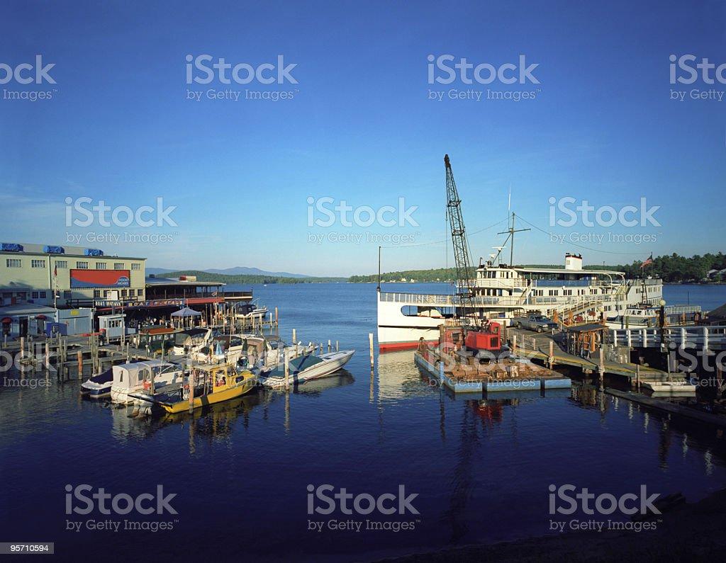 Dock and boat at the lake. royalty-free stock photo