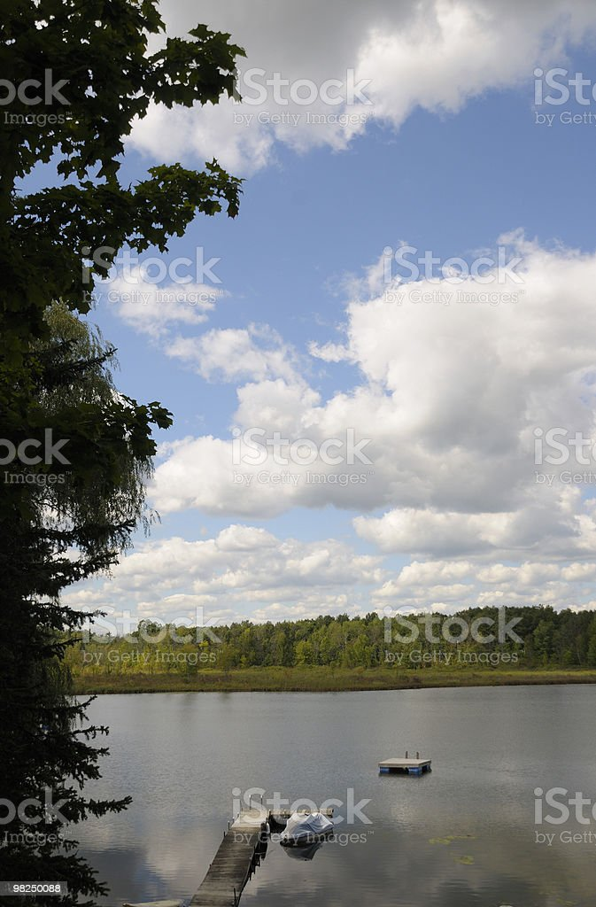 Dock and Lake in Summer royalty-free stock photo