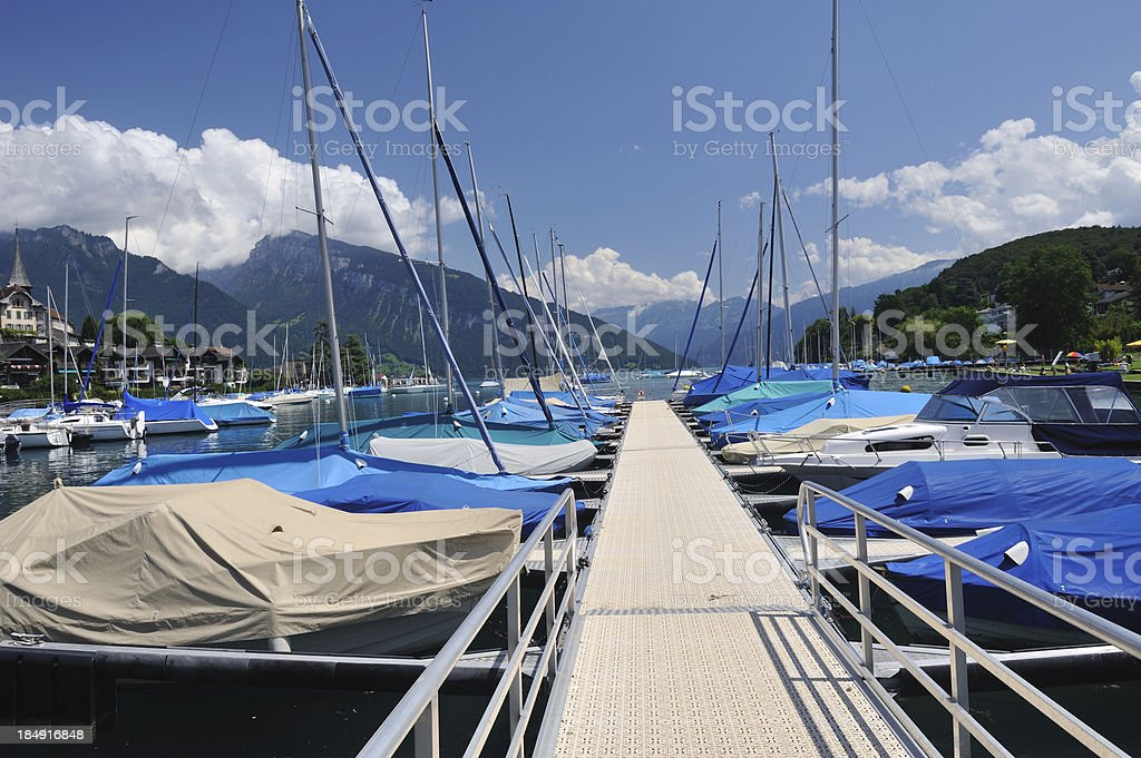 Dock at Lake Thun royalty-free stock photo