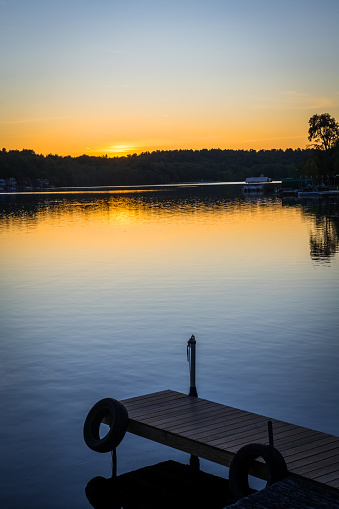 A scenic view at sunset of White Lake in Sullivan County New York.