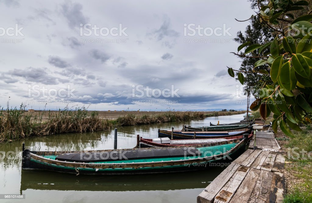 Dock at the Albufera zbiór zdjęć royalty-free