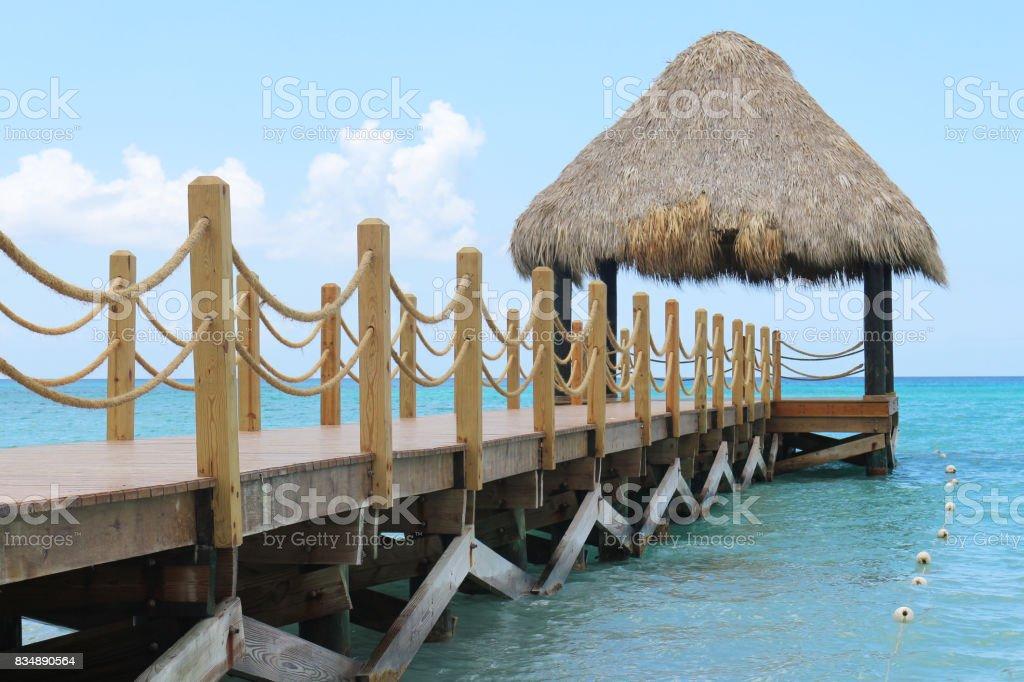 Dock at the Bayahibe Beach stock photo
