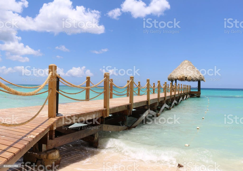 Dock at the Bayahibe Beach stock photo