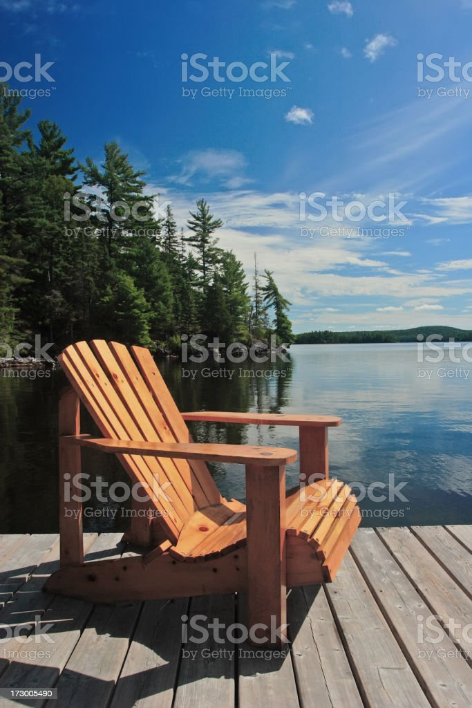 Dock Chair in the Sun stock photo