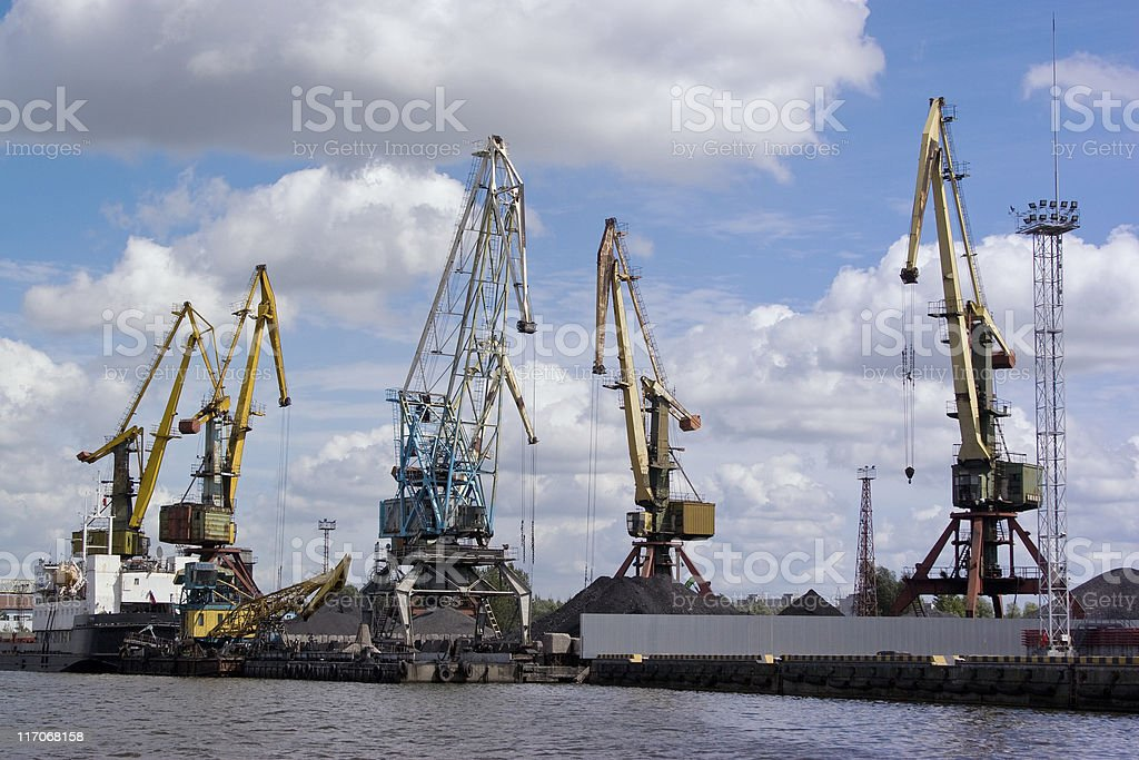 dock cranes In the port stock photo