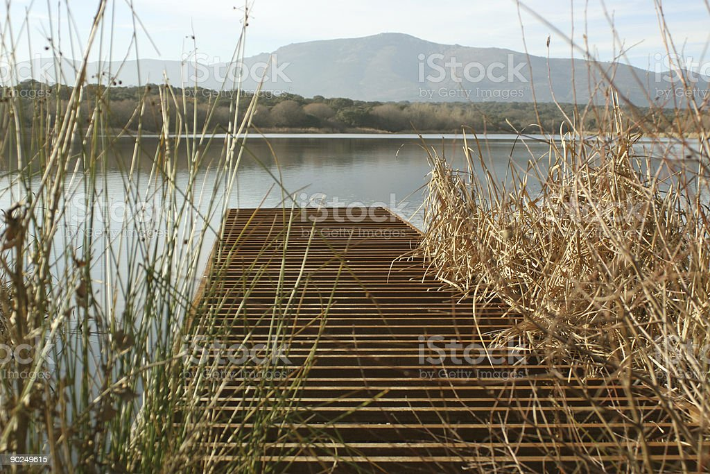 dock in a lake stock photo
