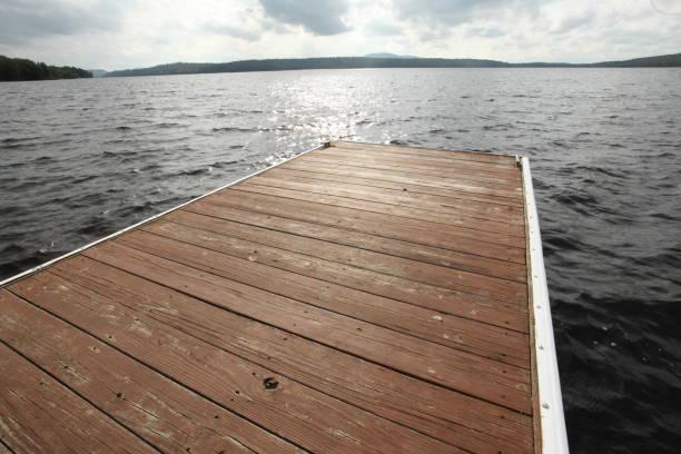 Dock in an Adirondack Lake stock photo