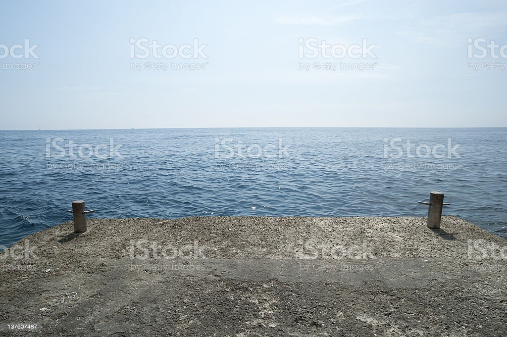 Dock In Front Of Sea royalty-free stock photo