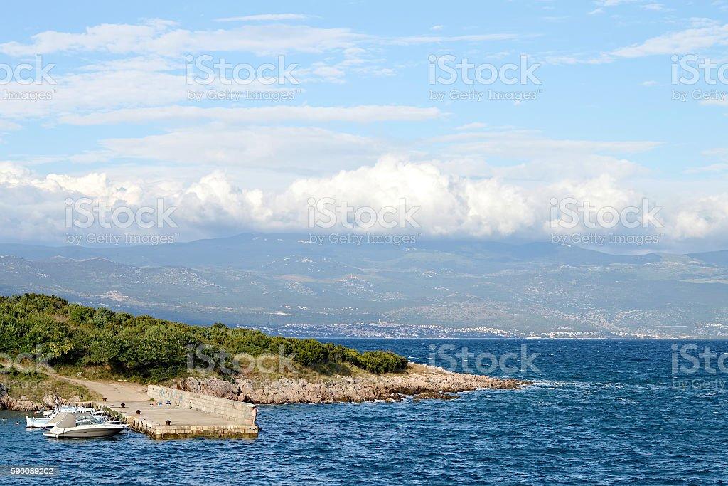Dock in village called Risika, Island of Krk, Croatia royalty-free stock photo