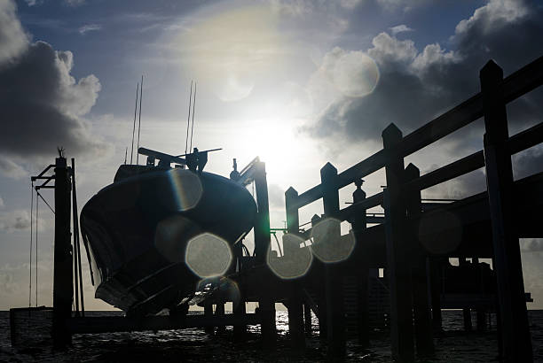 Dock Lens Flare stock photo