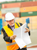 Mature dock worker, maneger, with white helmet and glasses checking consignment notes against pallet of cargo container in background.
