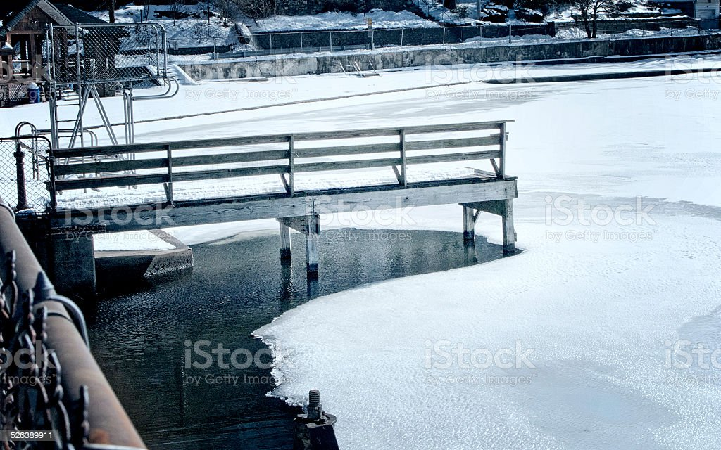 Dock on Frozen Lake stock photo