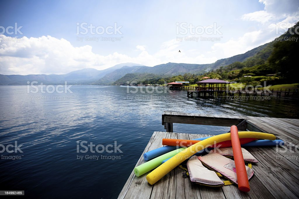 Dock on Lago de Coatepeque (Crater lake) El Salvador stock photo