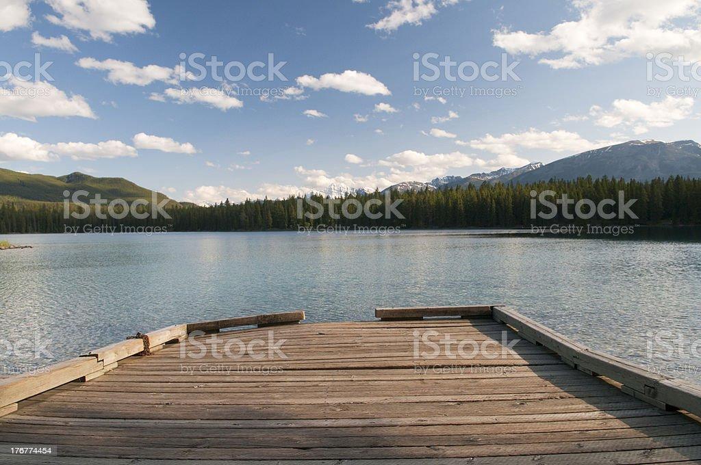 Dock on Lake in Alberta royalty-free stock photo
